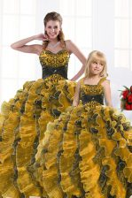 Simple Gold Lace Up Sweet 16 Dresses Beading and Appliques and Ruffles Sleeveless Floor Length