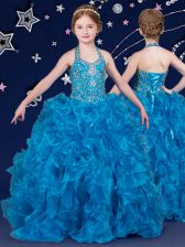 Halter Top Floor Length Blue Little Girls Pageant Gowns Organza Sleeveless Beading and Ruffles