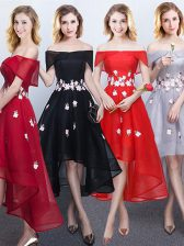 Stunning Off the Shoulder Appliques Dama Dress Black and Red and Grey Lace Up Sleeveless High Low