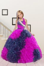 Admirable Hot Pink Halter Top Neckline Beading and Ruffles Little Girls Pageant Gowns Sleeveless Lace Up