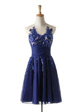 High Class Navy Blue A-line Scoop Sleeveless Chiffon Knee Length Backless Appliques Prom Dresses