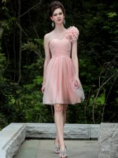 Perfect One Shoulder Peach Sleeveless Beading and Hand Made Flower Knee Length Prom Party Dress
