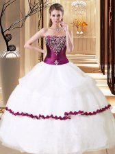 Strapless Sleeveless Vestidos de Quinceanera Floor Length Beading White Organza