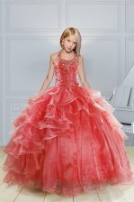 Halter Top Red Ball Gowns Beading and Ruffles Girls Pageant Dresses Lace Up Organza Sleeveless Floor Length
