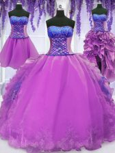 Four Piece Floor Length Purple Quince Ball Gowns Organza Sleeveless Embroidery and Ruffles