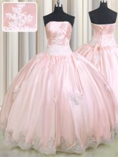 Classical Ball Gowns Sweet 16 Quinceanera Dress Baby Pink Strapless Taffeta Sleeveless Floor Length Lace Up