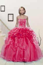 Romantic Hot Pink Ball Gowns Sweetheart Sleeveless Organza Floor Length Lace Up Beading and Pick Ups Little Girl Pageant Gowns