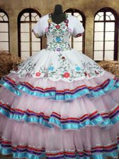 Beauteous Straps Floor Length White Vestidos de Quinceanera Organza and Taffeta Sleeveless Embroidery and Ruffled Layers