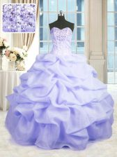 Low Price Sleeveless Floor Length Beading and Ruffles Lace Up Vestidos de Quinceanera with Lavender