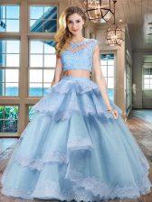 Scoop Ruffled Floor Length Two Pieces Cap Sleeves Light Blue Quinceanera Dresses Zipper