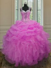 Custom Design Straps Lilac Organza Zipper Ball Gown Prom Dress Sleeveless Floor Length Beading and Ruffles