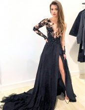 Scoop Black Zipper Prom Dresses Appliques Long Sleeves Brush Train