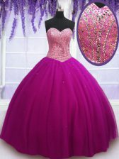 Sleeveless Tulle Floor Length Lace Up Quince Ball Gowns in Fuchsia with Beading