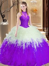 Deluxe White And Purple Quinceanera Dress Military Ball and Sweet 16 and Quinceanera with Lace and Appliques and Ruffles High-neck Sleeveless Lace Up