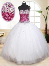Sweetheart Sleeveless Tulle Sweet 16 Dresses Beading Lace Up