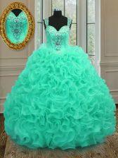 Apple Green Organza Zipper Straps Sleeveless Floor Length Quinceanera Dress Beading and Ruffles