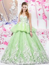 Scoop Lace and Appliques Vestidos de Quinceanera Yellow Green Lace Up Sleeveless Floor Length