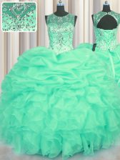Extravagant See Through Turquoise Lace Up Scoop Beading and Ruffles and Pick Ups Sweet 16 Dress Organza Sleeveless
