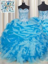 Blue Sweetheart Lace Up Beading and Ruffles and Pick Ups Quince Ball Gowns Sleeveless