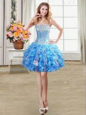 Fantastic Sleeveless Lace Up Mini Length Beading and Ruffles and Sequins Prom Party Dress