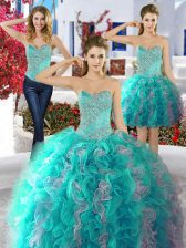 Three Piece Sleeveless Lace Up Floor Length Beading Sweet 16 Dress