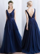 Brush Train A-line Prom Dress Navy Blue V-neck Tulle Sleeveless With Train Backless