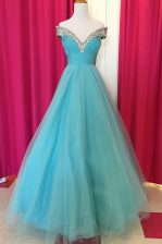 Elegant Off the Shoulder Blue Sleeveless Tulle Backless Prom Dresses for Prom