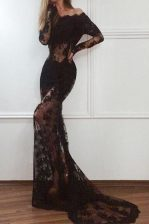 Mermaid Off The Shoulder Long Sleeves Prom Evening Gown With Train Court Train Lace Black Lace