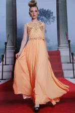 Delicate Chiffon High-neck Sleeveless Side Zipper Beading and Appliques Prom Gown in Orange