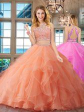 Artistic Scoop Orange Backless Quinceanera Dress Beading and Ruffles Sleeveless Floor Length