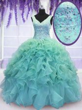 Elegant Blue V-neck Lace Up Beading and Embroidery and Ruffles 15 Quinceanera Dress Sleeveless