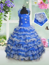 Halter Top Sleeveless Organza Kids Pageant Dress Beading and Appliques and Ruffled Layers Lace Up