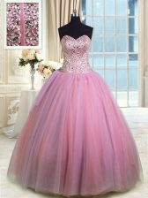 Sleeveless Organza Floor Length Lace Up 15 Quinceanera Dress in Rose Pink with Beading and Ruching