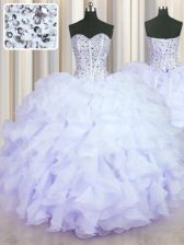 Vintage Lavender Sleeveless Beading and Ruffles Floor Length Ball Gown Prom Dress