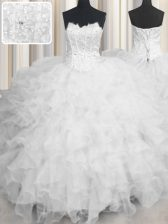 Stylish Scalloped Sleeveless Floor Length Beading and Ruffles Lace Up Quinceanera Dresses with White