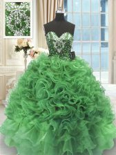 Beading and Ruffles Quinceanera Dress Green Lace Up Sleeveless Floor Length