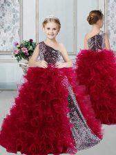 One Shoulder Sleeveless Floor Length Ruffles and Sequins Zipper Flower Girl Dresses with Burgundy