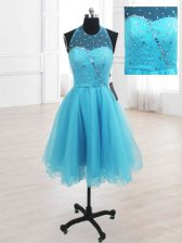 Edgy Sequins Knee Length A-line Sleeveless Baby Blue Prom Dresses Lace Up