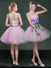 Mini Length Lace Up Prom Party Dress Lilac for Prom and Party with Appliques and Belt