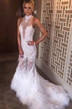 Delicate White High-neck Neckline Lace Prom Evening Gown Sleeveless Backless