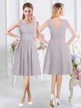 Cheap Grey Scoop Neckline Ruching Court Dresses for Sweet 16 Sleeveless Zipper