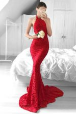 Mermaid Halter Top Red Sleeveless Sweep Train Lace Dress for Prom