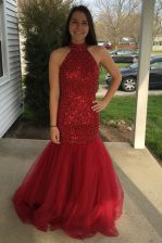 Extravagant Mermaid Red Zipper Prom Evening Gown Sequins Sleeveless Floor Length