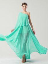 Amazing Turquoise Column/Sheath One Shoulder Sleeveless Chiffon Ankle Length Side Zipper Ruching Homecoming Dress