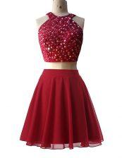 Scoop Wine Red Zipper Prom Dress Beading Sleeveless Knee Length