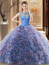 Decent Multi-color Ball Gowns Fabric With Rolling Flowers Scoop Sleeveless Beading Lace Up Sweet 16 Dress Brush Train