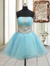 Strapless Sleeveless Prom Evening Gown Mini Length Beading Aqua Blue Organza