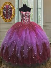 Custom Design Beading and Ruffles and Sequins Quinceanera Dress Multi-color Lace Up Sleeveless Floor Length