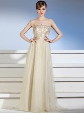 Latest Bateau Sleeveless Prom Evening Gown Floor Length Appliques Champagne Chiffon and Tulle