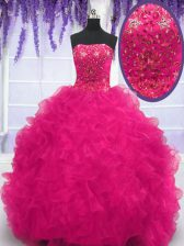 Comfortable Fuchsia Lace Up Quinceanera Dress Beading and Ruffles Sleeveless With Brush Train